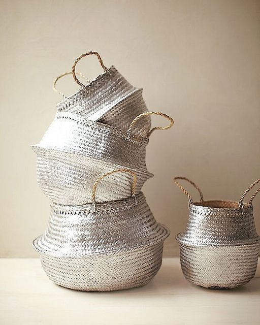 silver painted baskets - do it yourself storage
