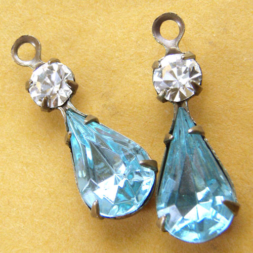 Vintage Glass and Crystal Jewels - Aqua Pear Jewels and Crystal Swarovski Rhinestones