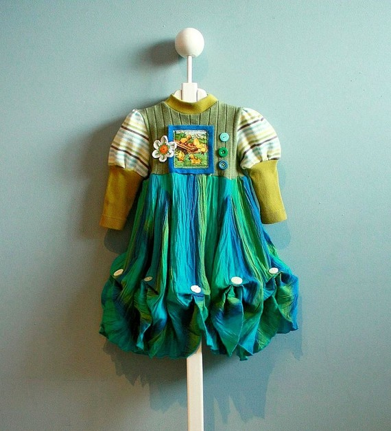 Girls Upcycled Dress from brokenghostcouture on Etsy