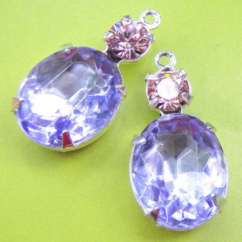 Vintage Glass and Crystal Jewels - Light Amethyst Vintage Glass Jewel and Crystal Swarovski Rhinestones