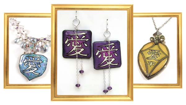 The kanji for love, in paper earrings and pendants