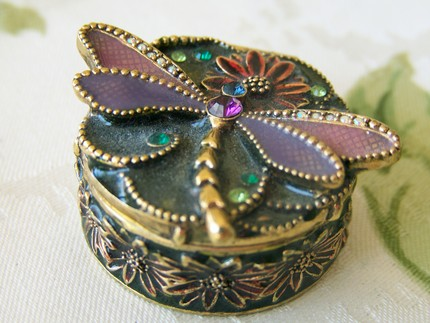 Monet Trinket Box with Butterfly and Jewels