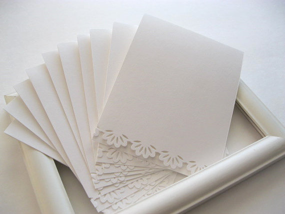 handmade paper lace edge blank cards from AlmondCrafts on Etsy