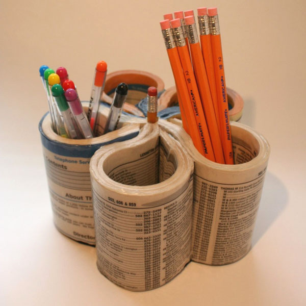 Upcycled phone book into pencil cup - first pic