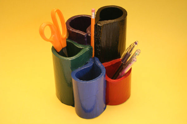 recycled phone book into pencil cup - second pic, with your colors
