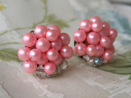 Pink Beaded Bubble Earrings