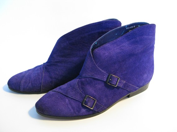Purple Faux Suede Vintage Boots from To Be Determined on Etsy