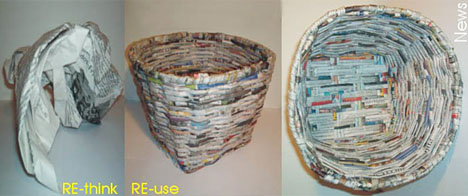 Recycled Newspaper Baskets
