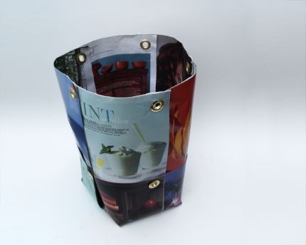 Recycled Wastebasket made with magazine pages
