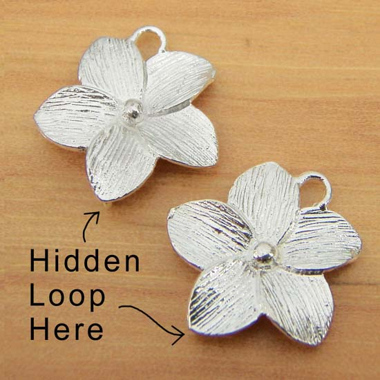 silver flower connectors - jewelry components