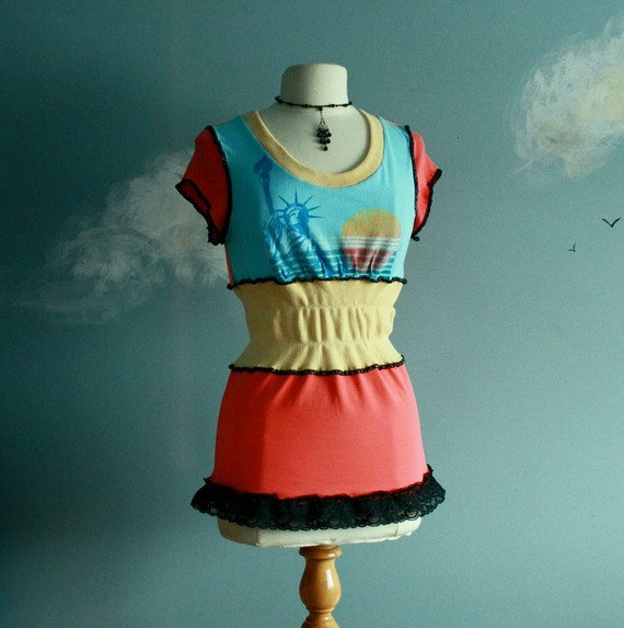 Women's upcycled one of a kind top from Broken Ghost Couture on Etsy