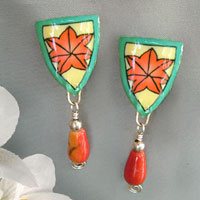 clip-on drop earrings with limestone coral teardrops and sterling silver