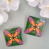 quilt square style lacquered paper clip on earrings