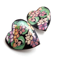 black floral heart clip on earrings made with lacquered paper