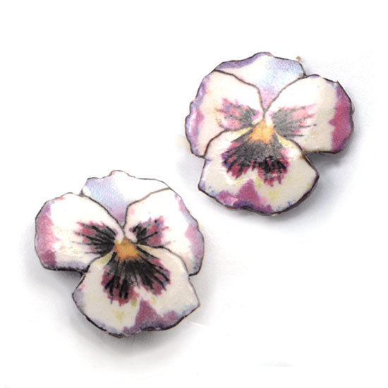 purple and white pansy clip on earrings....made with lacquered paper