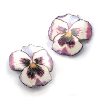lacquered paper pansy clip on earrings