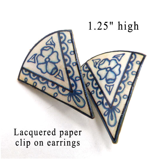 porcelain blues clip on earrings made with lacquered paper
