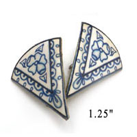 lacquered paper clip on earrings inspired by porcelain china