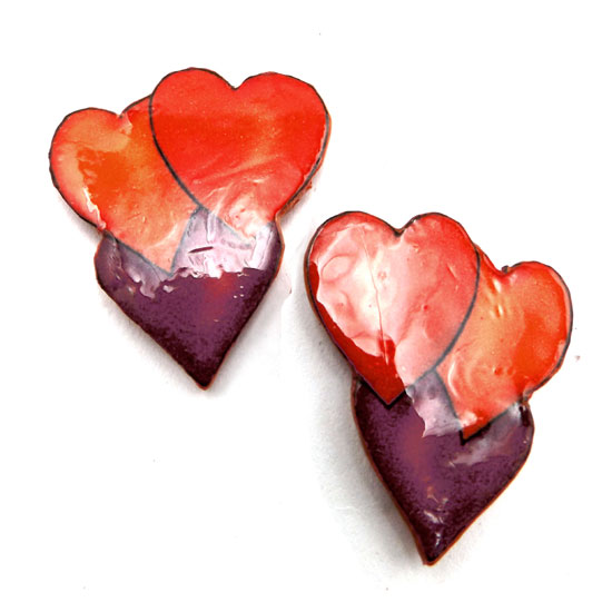 red, orange and purple heart clip on earrings made with lacquered paper