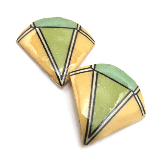 light yellow and green lacquered paper clip on earrings