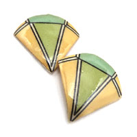 lacquered paper yellow and green clip on earrings