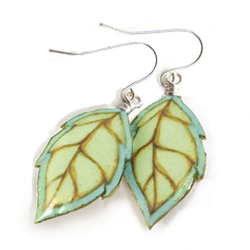 aqua and light green leaf paper earrings