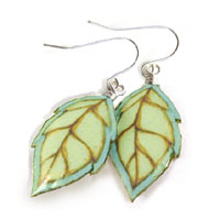 aqua and light green leaf earrings made with layers of lacquered paper