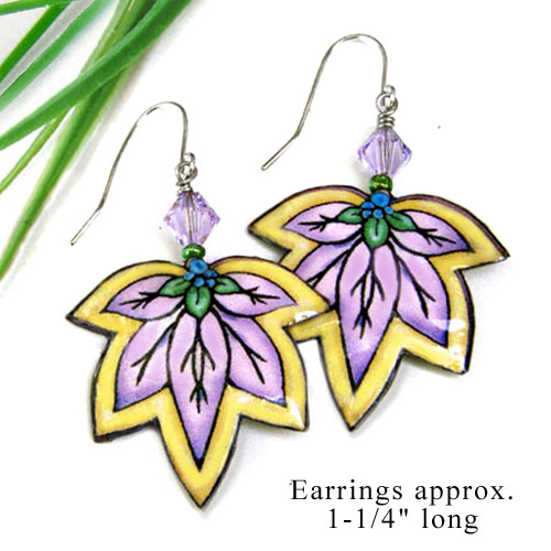 lilac and yellow lacquered paper earrings