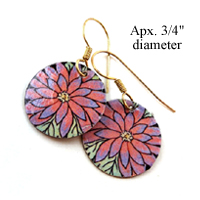 pink gerbera daisy disc earrings