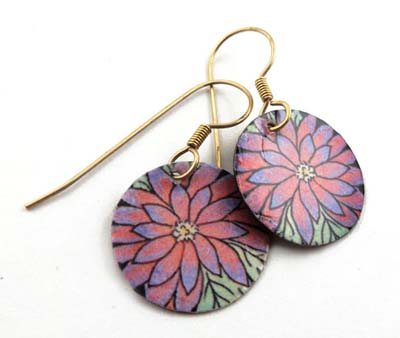 pink gerbera disc earrings