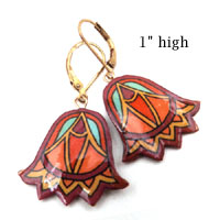 lacquered paper purple and orange art deco bell earrings