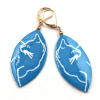 lacquered paper turquoise cat earrings