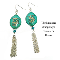 rhinestone teardrops paired with paper earring drops that feature the Japanese katakana Yume or Dream