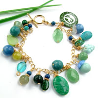 gemstone charm bracelet with Junior League logo charm