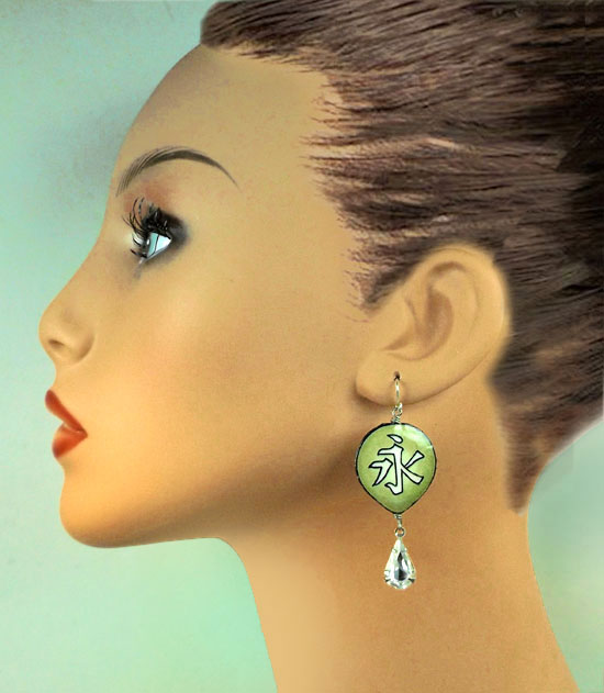 japanese katakana eternity earrings with crystal teardrops