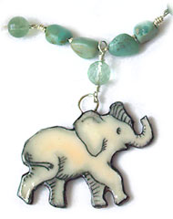 elephant pendant on fluorite necklace