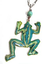 turquoise and green frog necklace