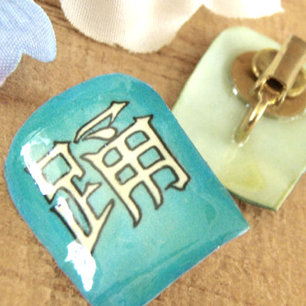 katakana or kanji dance clipon earrings