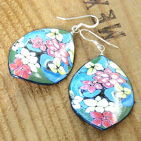 aqua and pink floral paper earrings with black...custom colors available