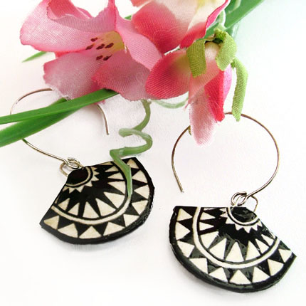 black and white art deco inspired paper earrings