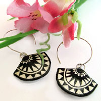 black and white fan shaped paper earrings with sterling silver earwires