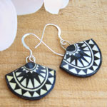 black and white lacquered paper earrings