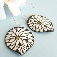 paper jewelry - black and white gerbera daisy paper earrings with sterling silver