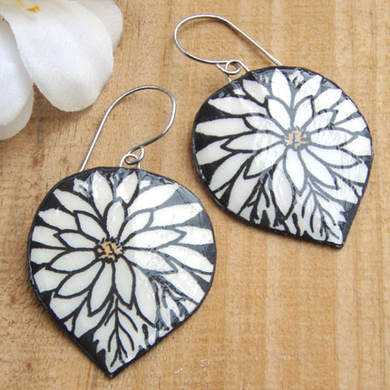 black and white gerbera daisy paper earrings