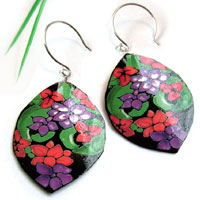 lacquered paper earrings - black earrings with red and purple flowers...custom color choices available