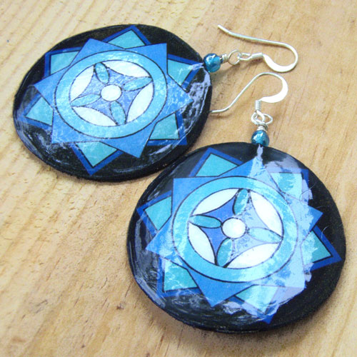 Big Lightweight Blue and Black Mandala Snowflake Earrings