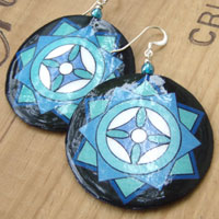 big lightweight paper earrings - blue and black mandala earrings