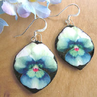 blue flower paper earrings - abstract blue pansies