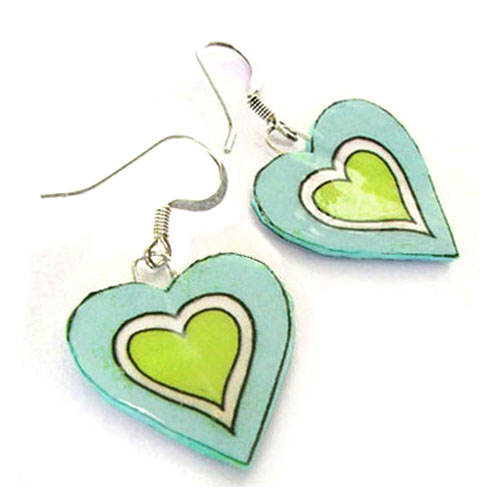 lacquered paper heart earrings for a paper anniversary gift...these heart earrings are shown in aqua and green