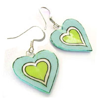 lime green and light blue heart earrings made with lacquered paper and sterling silver